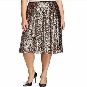 Ava & Viv Gold Sparkle Sequin Midi Skirt Size 2X